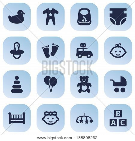 Set Of 16 Kid Icons Set.Collection Of Trace, Hangings, Air Balloon And Other Elements.