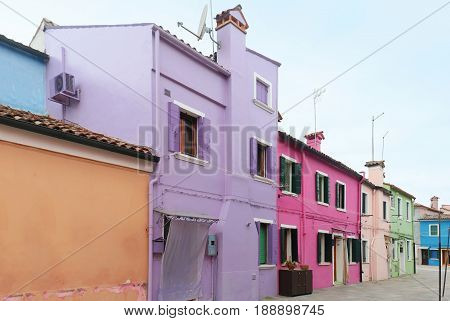 Old houses in a row with colorful facades