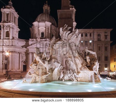 Fontana dei Quattro Fiumi is a fountain in the Piazza Navona in Rome during night