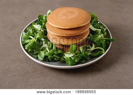 Breakfast Option. American Pancakes With Lettuce Leaves. Country