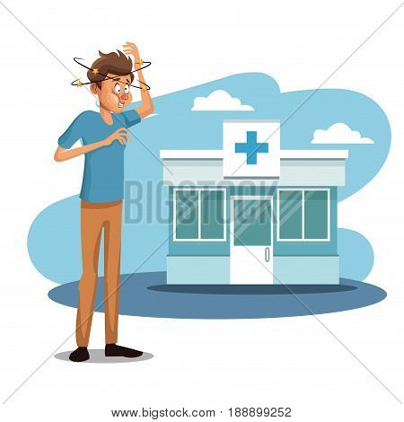 scene sickness people with dizziness and vomiting outdoor the hospital vector illustration