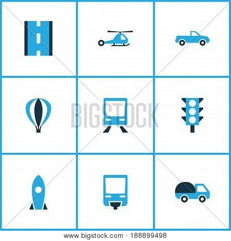 Shipment Colorful Icons Set. Collection Of Missile, Caravan, Cabriolet And Other Elements. Also Includes Symbols Such As Caravan, Transport, Space.