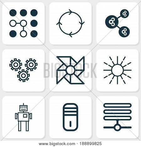 Robotics Icons Set. Collection Of Cyborg, Computing Problems, Recurring Program And Other Elements. Also Includes Symbols Such As Regulation, Cooler, Algorithm.