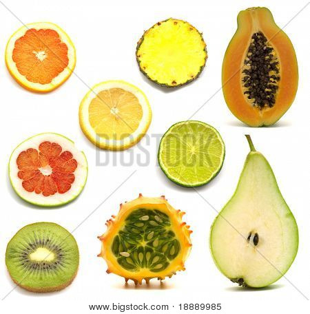 slice exotic fruits on white background