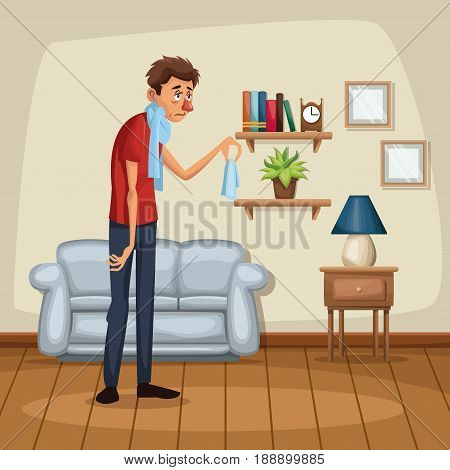 background living room home with sickness people vector illustration
