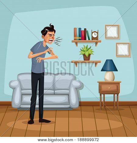 background living room home with sneeze sickness people vector illustration