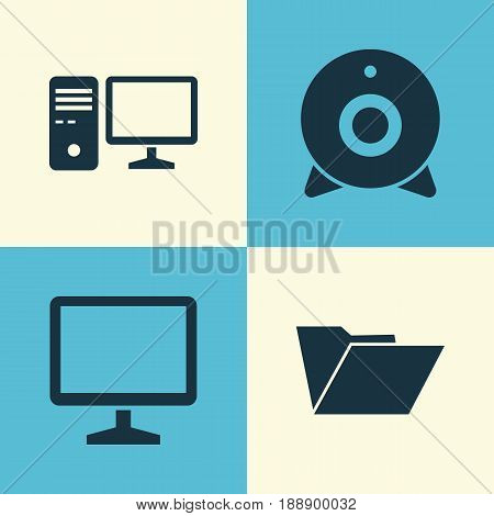 Gadget Icons Set. Collection Of Personal Computer, Broadcast, Desktop And Other Elements. Also Includes Symbols Such As Monitor, Desktop, PC.