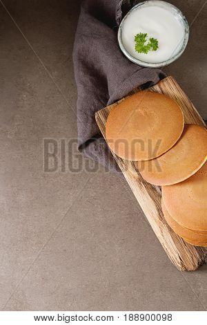 Breakfast Option. American Pancakes. Country Style. Dark Backgro
