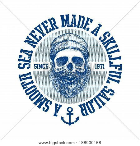 Vintage poster with motivational lettering a smooth sea never made a skillful sailor. Vector illustration