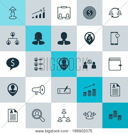 Resources Icons Set. Collection Of Phone Conference, Find Employee, Employee Location And Other Elements. Also Includes Symbols Such As Megaphone, Hierarchy, User.