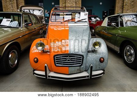 BERLIN - MAY 13 2017: Economy car Citroen 2CV in an unusual (two-color) color. Exhibition