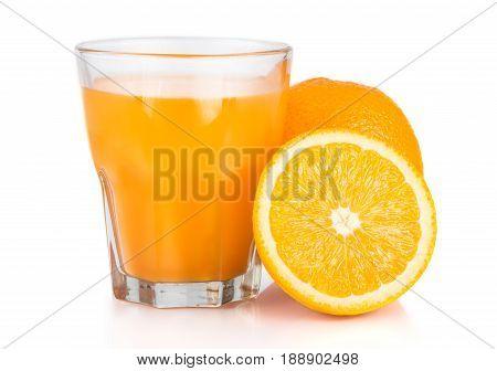 Orange Juice. Isolated Drink. A Glass Of Orange Juice And Pieces Of Orange Fruit Isolated On White B