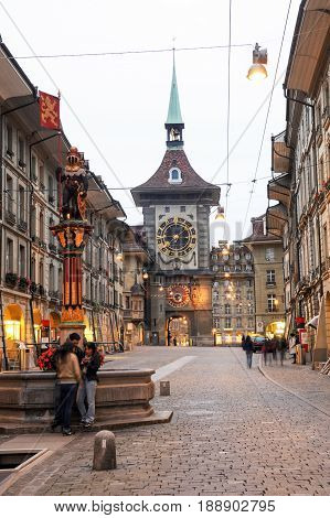 Alley To The Clocktower On The Old Part Of Bern