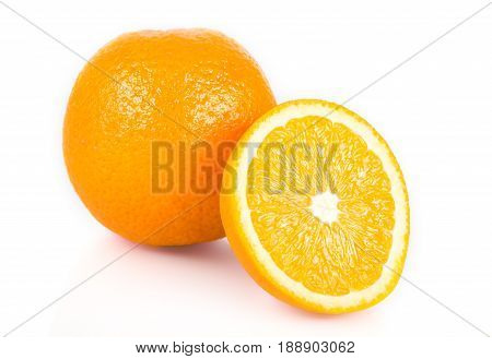 Orange Fruit. Pieces Of Orange Fruit Isolated On White Background. Citrus. Diet. Vitamins. Healthy F