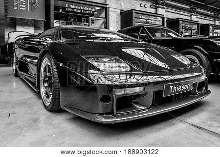 BERLIN - MAY 13 2017: Sports car Lamborghini Diablo GT 2001. Black and white. Exhibition