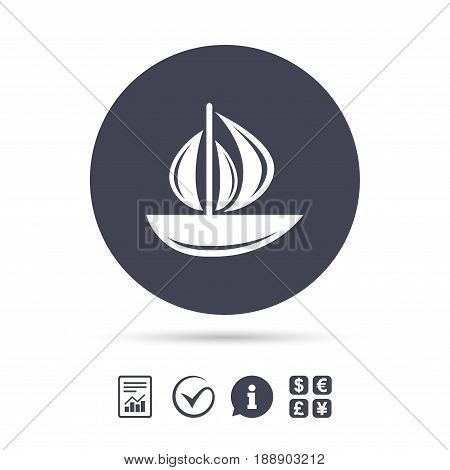 Sail boat icon. Ship sign. Shipment delivery symbol. Report document, information and check tick icons. Currency exchange. Vector