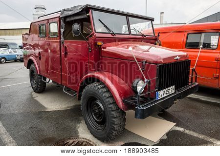 BERLIN - MAY 13 2017: A truck Borgward B 2000 1958. Exhibition