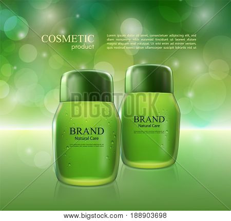 Cosmetic ads poster.Moisturizing nourishing cream for skin protection based on natural ingredients isolated on glowing background.Mockup 3D Realistic vector illustration in soft green color.