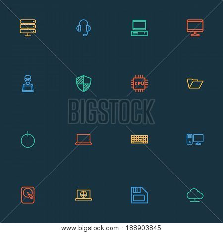 Computer Outline Icons Set. Collection Of Notebook, Cpu, Protect And Other Elements. Also Includes Symbols Such As Storage, Motherboard, Earphones.