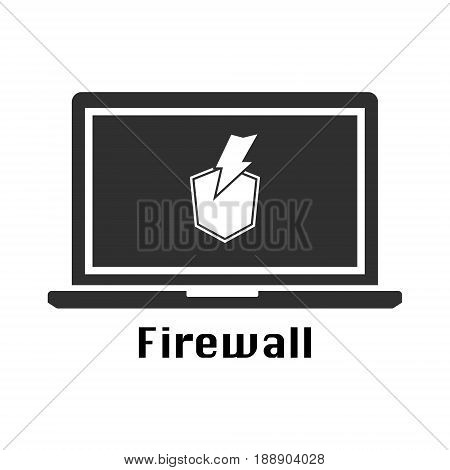 Firewall protection icon black icon. Vector illustration cyber crime security concept.