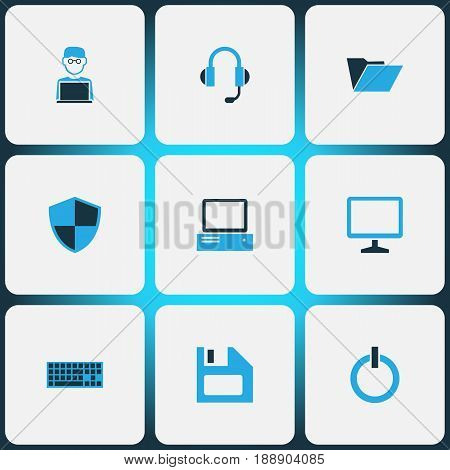 Hardware Colorful Icons Set. Collection Of Earphones, PC, Display And Other Elements. Also Includes Symbols Such As Personal, Security, Monitor.