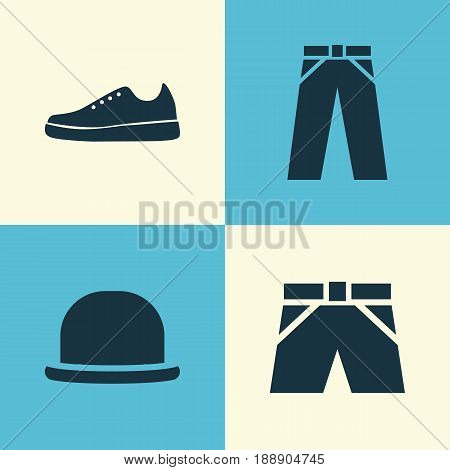 Garment Icons Set. Collection Of Panama, Pants, Sneakers And Other Elements. Also Includes Symbols Such As Trunks, Fedora, Cloth.