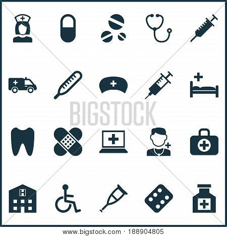 Drug Icons Set. Collection Of Surgical Bag, Peck, Cap And Other Elements. Also Includes Symbols Such As Pellet, Aid, Ambulance.