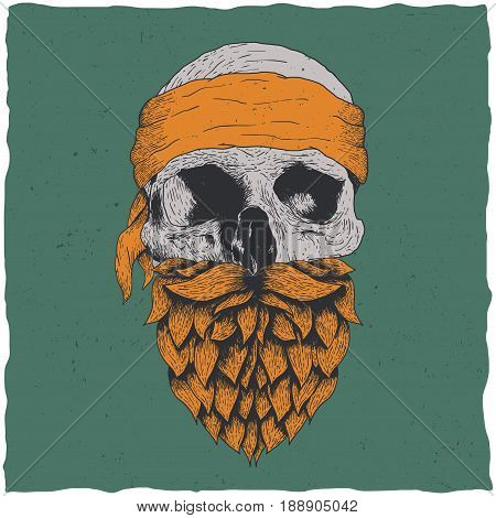 Real bikers legendary gang born to ride t-shirt design with hand drawn skull with beard and bandanna