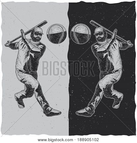 Illustration of baseball player on dark and light backgrounds