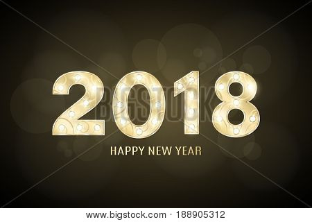 Happy new year 2018 and Christmas. Year of the dog. Gold figures with a pattern for the show. Flashing lamps. Figures for presentation and show. Glare bokeh. Vector illustration