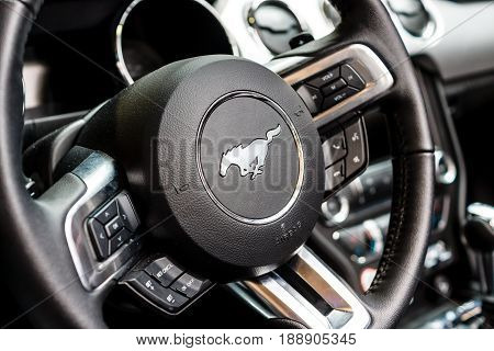 BERLIN - MAY 13 2017: Interior of the car Ford Mustang 5.0 V8 Convertible 2016. Exhibition