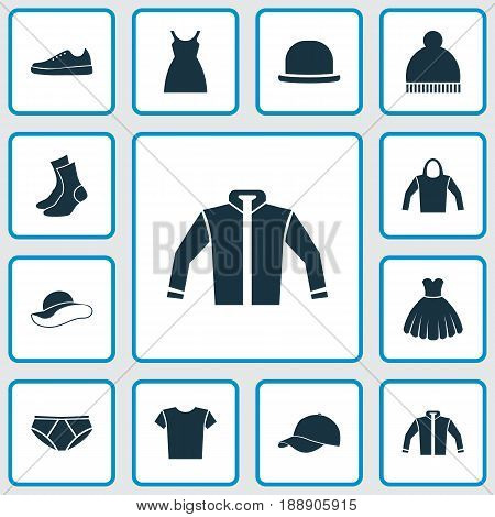 Garment Icons Set. Collection Of Sneakers, Trilby, Casual And Other Elements. Also Includes Symbols Such As Cap, Fedora, Pants.