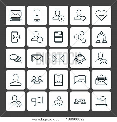 Communication Icons Set. Collection Of Mail Notification, Unfollow Icon, Favorite Person And Other Elements. Also Includes Symbols Such As Delete, User, Amplifier.