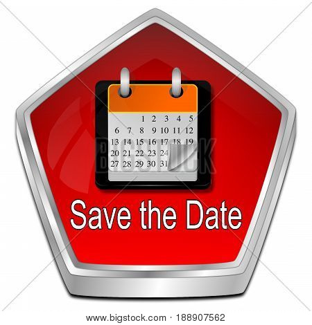 red Save the Date Button - 3D illustration