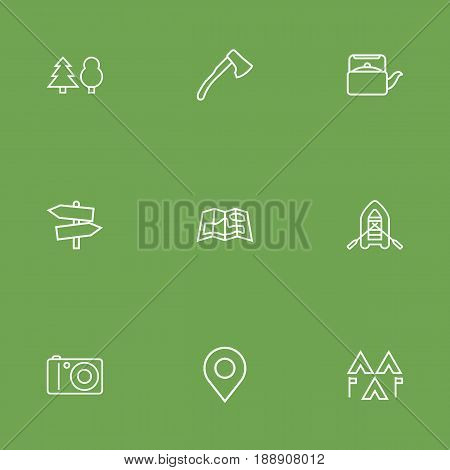 Set Of 9 Camping Outline Icons Set.Collection Of Encampment, Forest, Guidepost And Other Elements.