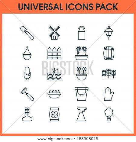 Garden Icons Set. Collection Of Jug, Protection Mitt, Cereal And Other Elements. Also Includes Symbols Such As Flower, Cereal, Tree.