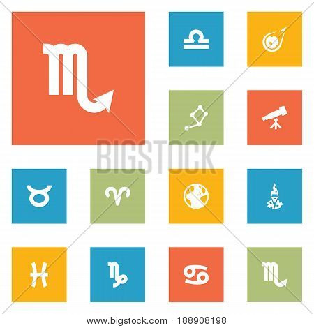 Set Of 12 Astrology Icons Set.Collection Of Binoculars, Crab, Earth Planet And Other Elements.