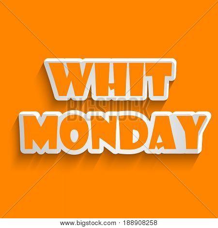 illustration of whit Monday text on orange background
