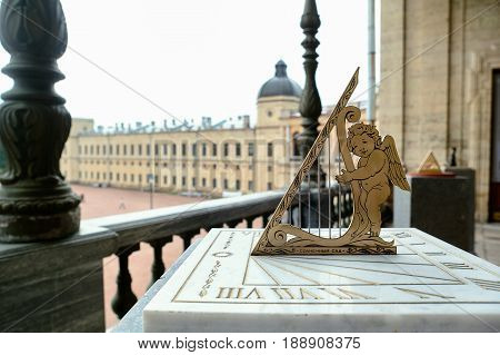 Sundial. Installed next to the monument to russian emperor Paul on the parade ground of the Gatchina Palace. poster