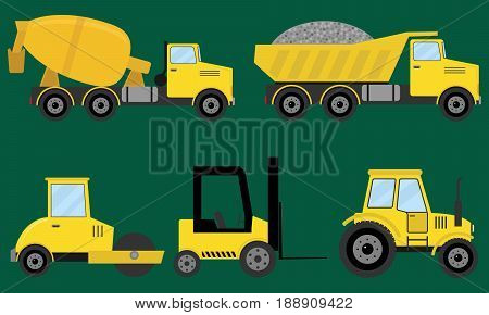 Construction machines special machinery. Flat design vector illustration vector.