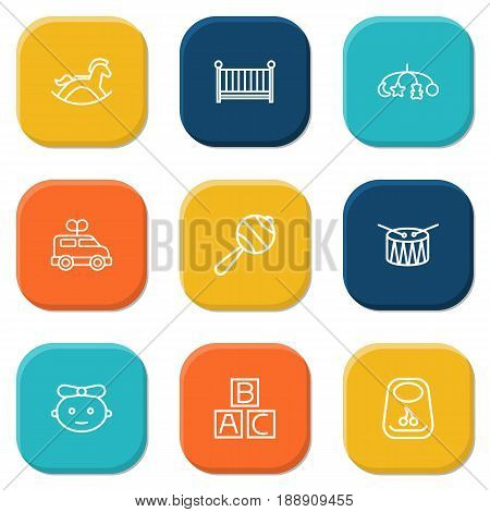 Set Of 9 Child Outline Icons Set.Collection Of Crib, Rocking Horse, Bib And Other Elements.