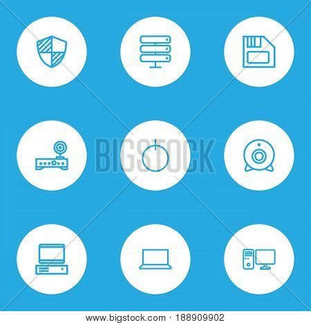 Hardware Outline Icons Set. Collection Of Computer, Datacenter, Power And Other Elements. Also Includes Symbols Such As Datacenter, Wifi, Personal.