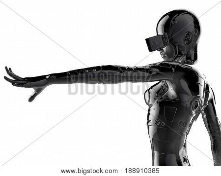 3D illustration. The stylish chrome plated cyborg woman. Futuristic fashion android.