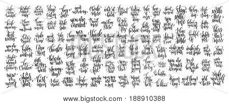 mega set of 100 hand written lettering motivational quotes, handwritten positive phrases to print, inspirational typography slogans, calligraphy vector illustration big collection