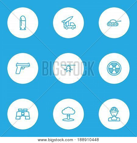 Warfare Outline Icons Set. Collection Of Military, Atomic Bomb, Radiation And Other Elements. Also Includes Symbols Such As Rocket, Military, Hazar.