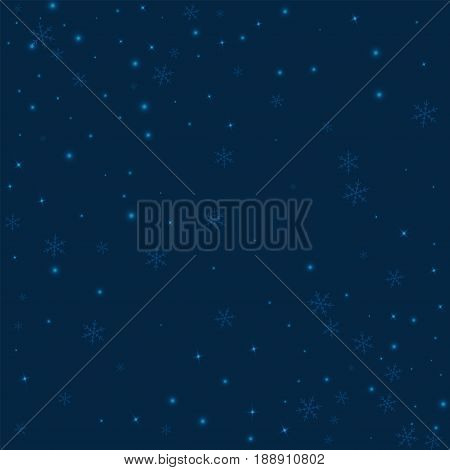 Sparse Glowing Snow. Abstract Scattered Pattern On Deep Blue Background. Vector Illustration.