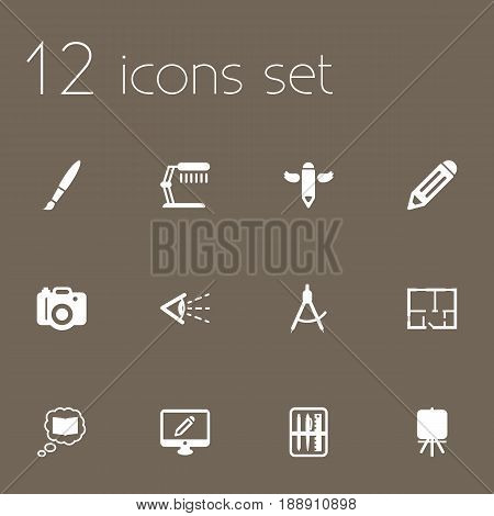 Set Of 12 Creative Icons Set.Collection Of Science, Illuminator, Scheme And Other Elements.