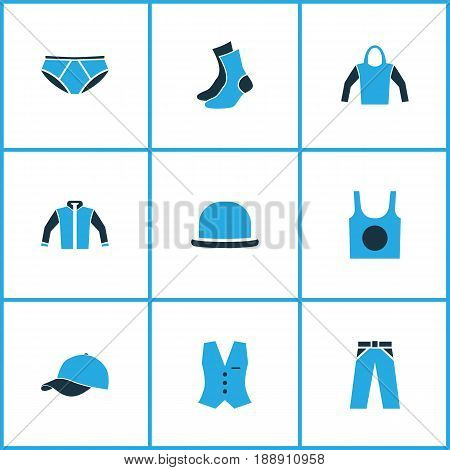 Garment Colorful Icons Set. Collection Of Socks, Panama, Sweatshirt And Other Elements. Also Includes Symbols Such As Singlet, Waistcoat, Jacket.