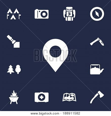 Set Of 13 Outdoor Icons Set.Collection Of Map, Camp, Jackknife And Other Elements.