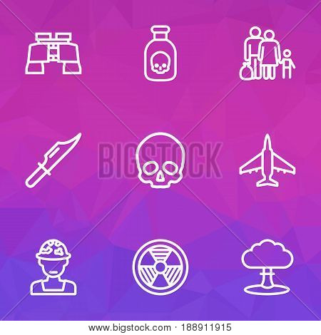 Combat Outline Icons Set. Collection Of Cutter, Fugitive, Atomic Bomb And Other Elements. Also Includes Symbols Such As People, Army, Bomb.